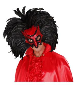 Maska diabla z cekinami i piórami
