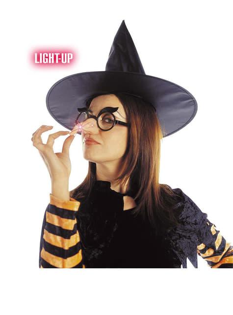Okulary z nosem czarownicy świecące
