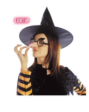 Bril met glimmende heksenneus