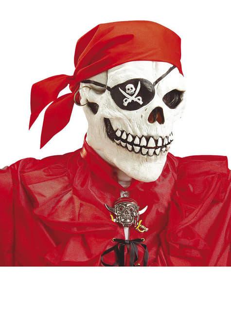 Máscara de caveira pirata com bandana vermelha