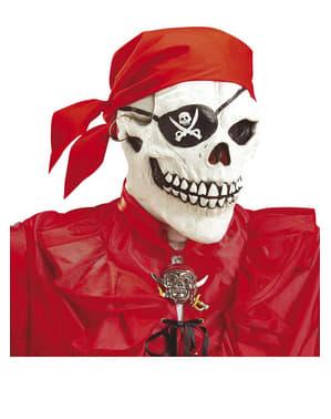 Máscara de calavera pirata con bandana roja