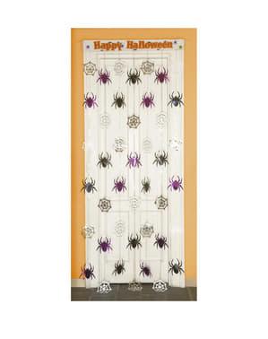 "Завеса с паяци с надпис ""Happy Hallowen"""