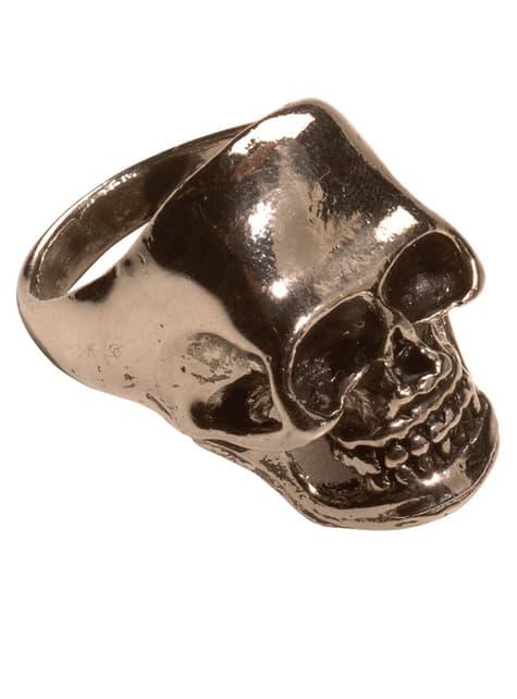 Pierścionek czaszka złoty