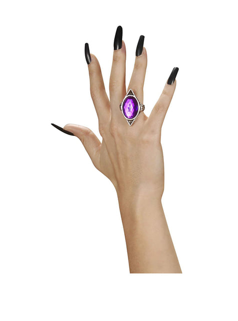 Pierścień zakon purpurowy kamień