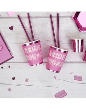 8 vasos de papel rosas - Bride Squad