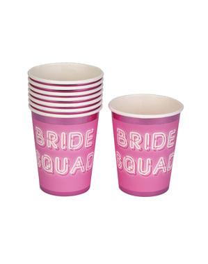 Pappbecher Set 8-teilig rosa - Bride Squad