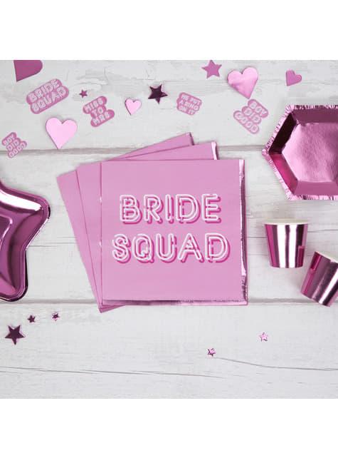 16 servilletas rosas de papel (33x33 cm) - Bride Squad