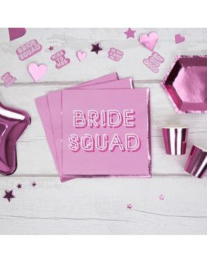 16 guardanapos cor-de-rosa de pape (33x33 cm) - Bride Squad