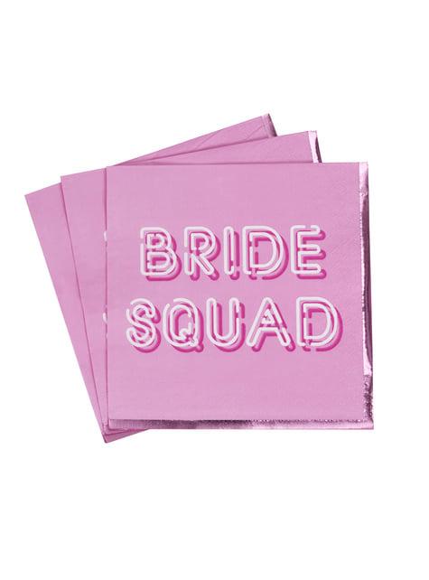 16 servilletas rosas de papel (33x33 cm) - Bride Squad - para tus fiestas