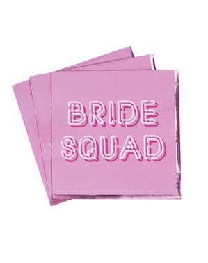 Papierservietten Set 16-teilig rosa - Bride Squad