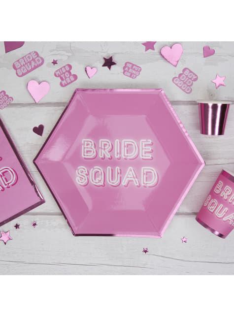 8 platos hexagonales rosas de papel (27 cm) - Bride Squad