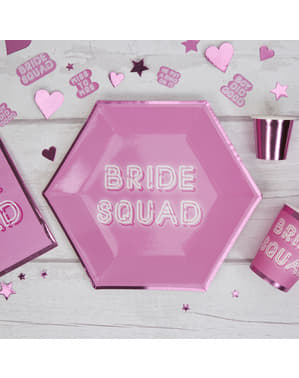 8 platos hexagonales rosas de papel (27 cm) - Bride Squad