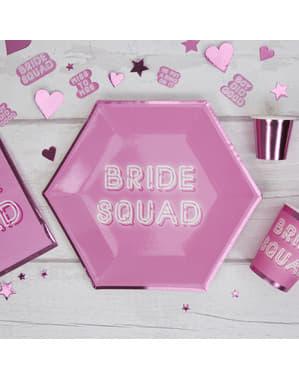 Sechseckige Pappteller Set 8-teilig rosa - Bride Squad