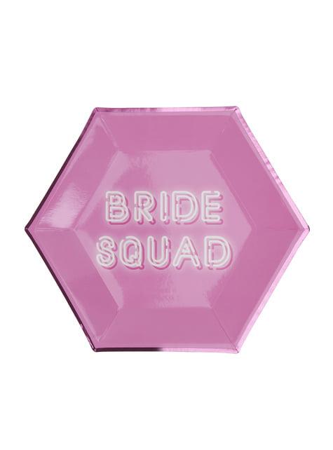 8 platos hexagonales rosas de papel (27 cm) - Bride Squad - para tus fiestas