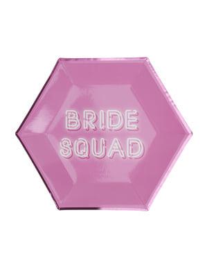 8 pratos hexagonais cor-de-rosa de pape (27 cm) - Bride Squad
