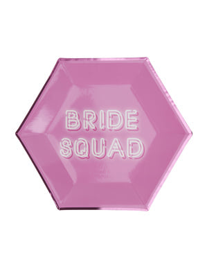 8 hexagonal paper plates in pin (27 cm) - Bride Squad