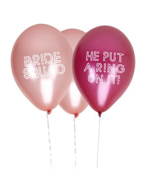 Sett med 8 assorterte latex ballonger i rosa - Bride Squad
