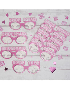 8 óculos cor-de-rosa de papel - Bride Squad