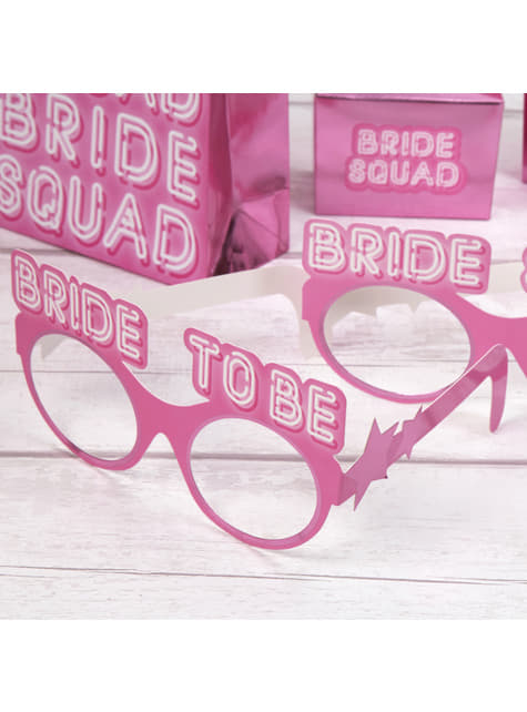 8 paper glasses in pink - Bride Squad