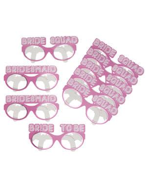 Papierbrillen Set 8-teilig rosa - Bride Squad