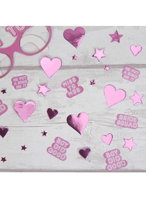 Různé stolní konfety růžové - Bride Squad