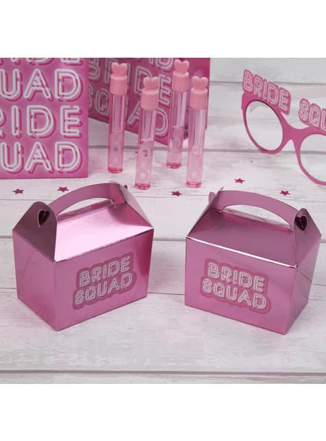 10 boîtes cadeaux roses en carton - Bride Squad