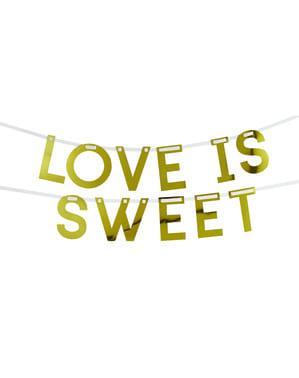 金色の「愛は甘い」ガーランド -  Geo Floral