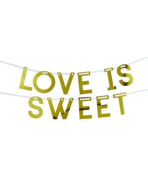 "Złota girlanda ""Love is sweet"" - Geo Floral"