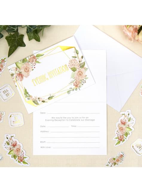 10 invitaciones de papel - Geo Floral