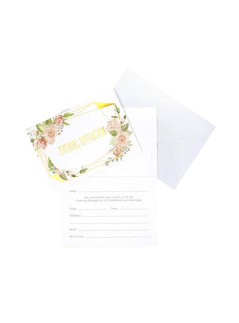 10 invitaciones de papel - Geo Floral - para tus fiestas