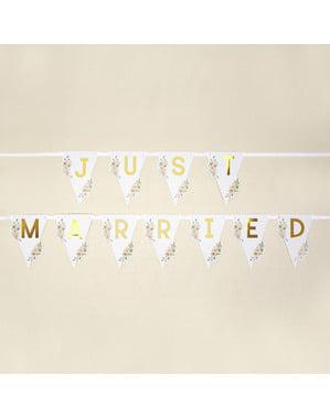 Just Married Fähnchengirlande - Geo Floral