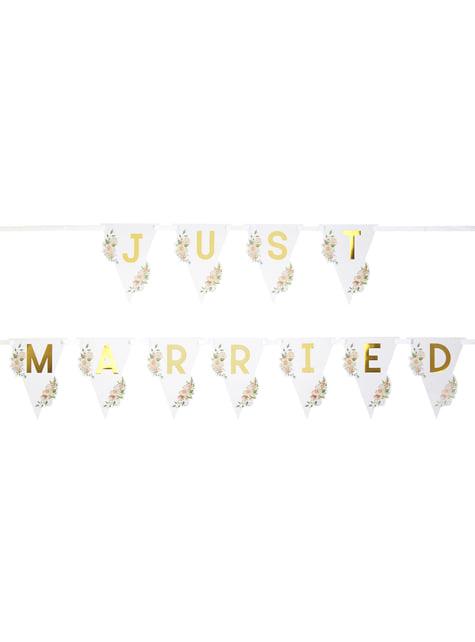 Banderín Just Married  - Geo Floral