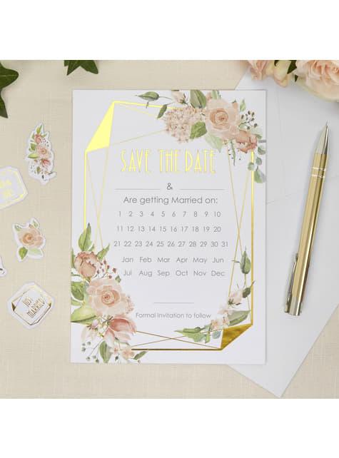 10 invitaciones de papel con calendario - Geo Floral