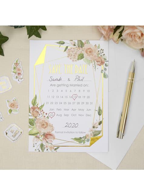 10 invitaciones de papel con calendario - Geo Floral - para tus fiestas