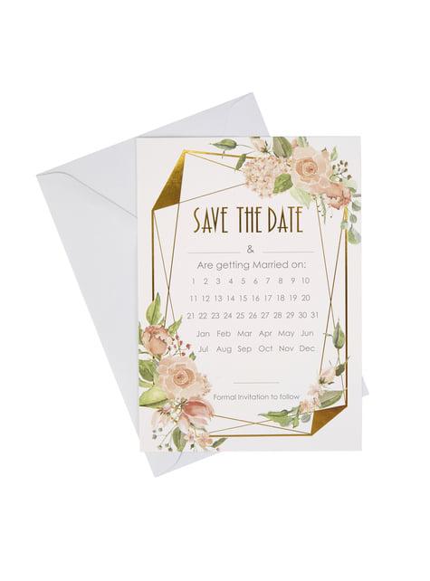 10 invitaciones de papel con calendario - Geo Floral - barato