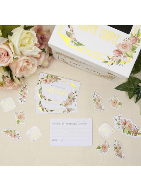 25 cartes de vœux en carton - Geo Floral