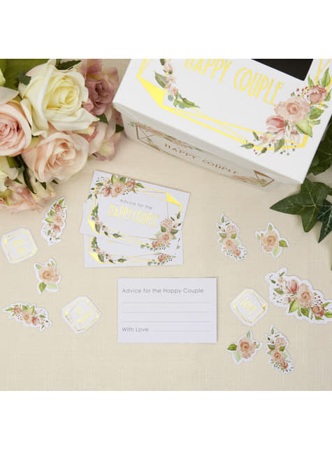 25 cartões de bons desejos de papel - Geo Floral