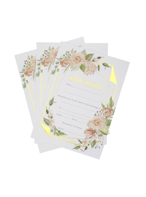 10 faire-part de mariage en carton - Geo Floral