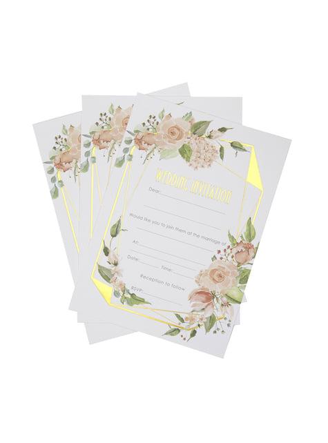 10 invitaciones para boda de día de papel - Geo Floral - para tus fiestas