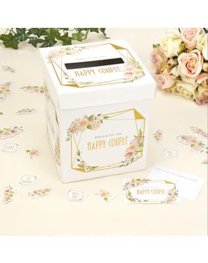 Papieren doos met goede wensen - Geo Floral