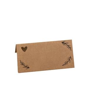 25 papieren tafelkaartjes - Hartjes & Handenarbeid