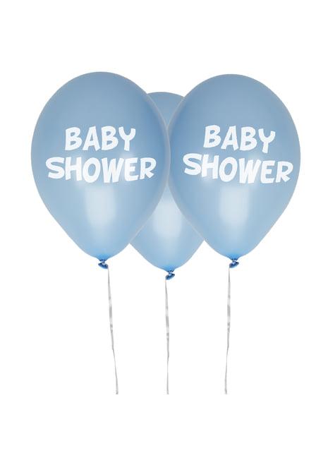 8 globos azules Baby Shower(30 cm) - Blue Star - para tus fiestas
