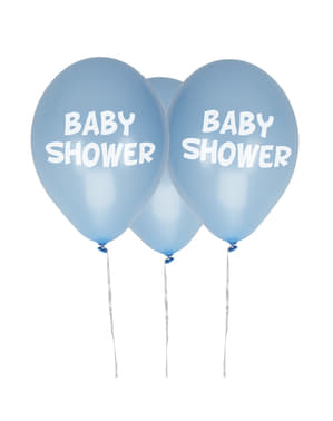 """Zestaw 8 niebieskie balony lateksowe """"Baby Shower"""" - Little Star Blue"""