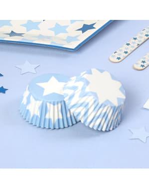 100 Cupcake Cases - Blue Star