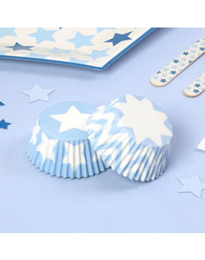 100 Cupcake Cases - Blue Star