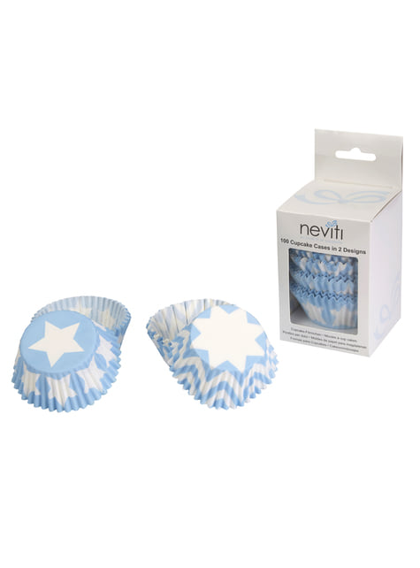 100 paper cupcake cases -  Little Star Blue