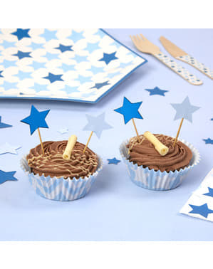 20 star shaped decorative toothpicks - Little Star Blue