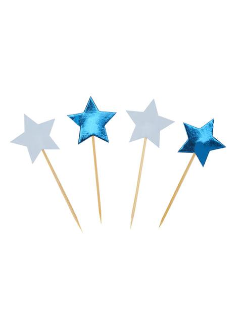 Set of 20 star shaped decorative toothpicks - Little Star Blue