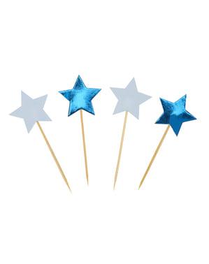 20の星形の装飾的なつまようじ - リトルスターブルーのセット