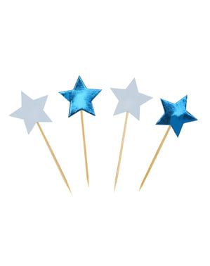 20 palitos decorativos com forma de estrela - Little Star Blue
